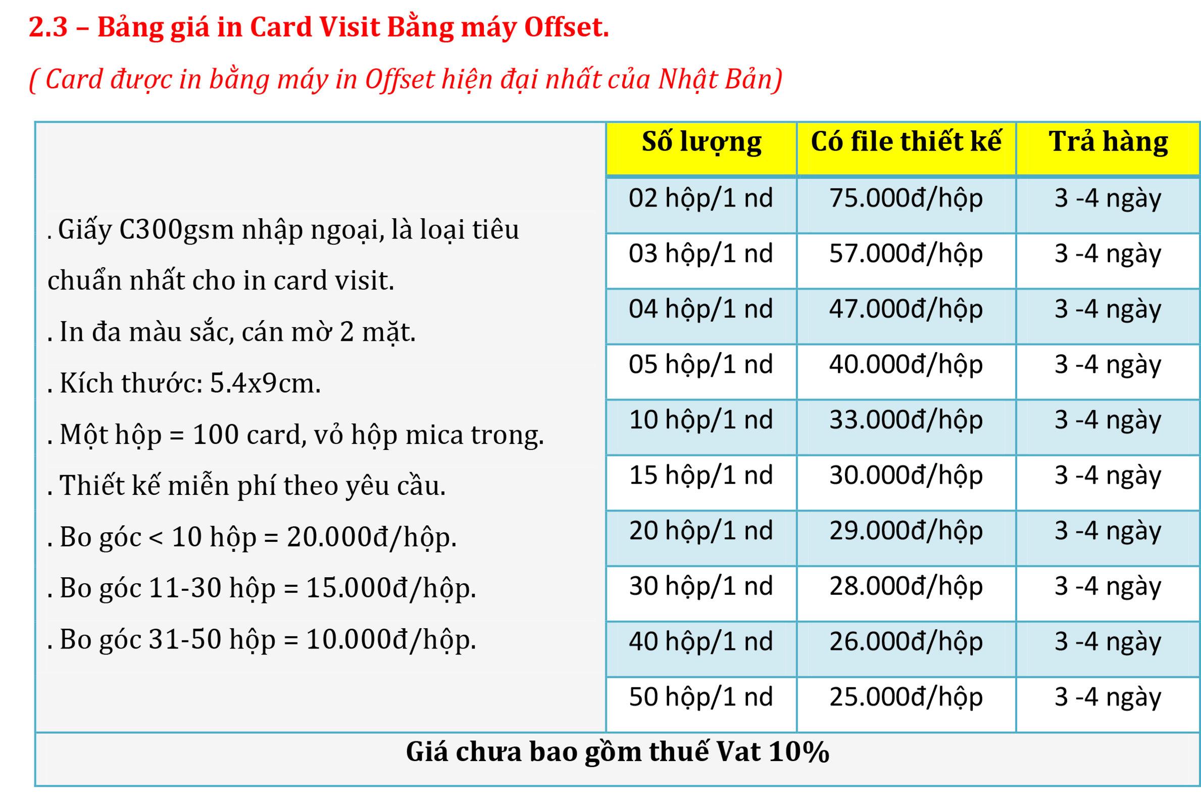 2.3 – Bảng giá in Card Visit Bằng máy Offset..jpg