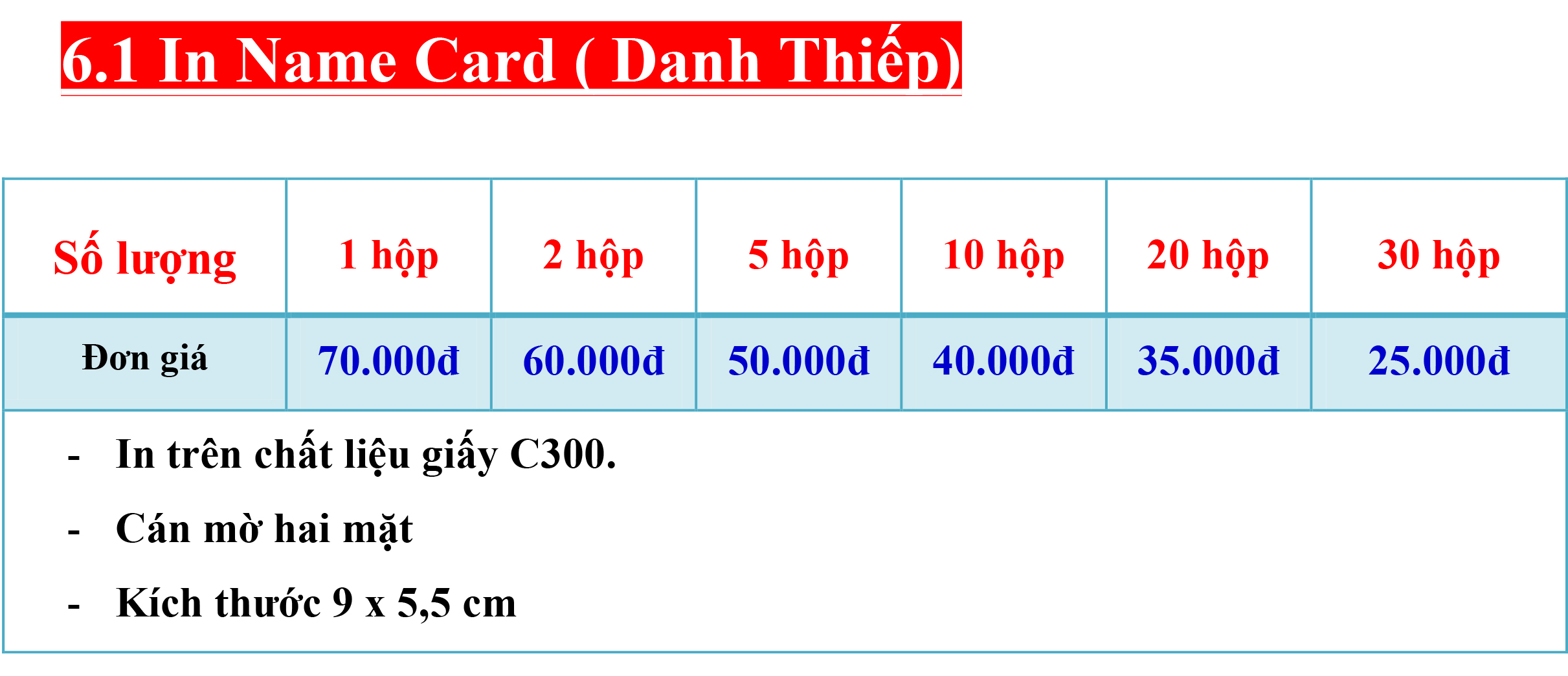 6.1 In Name Card ( Danh Thiếp).