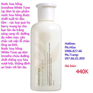 Nước hoa hồng Innisfree White Tone Up Skin 440K dung tich 200ml.
